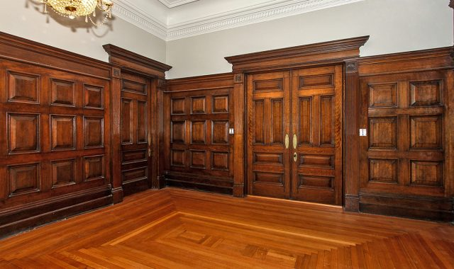 Main Floor Original English Oak Doors and Pannelled Walls